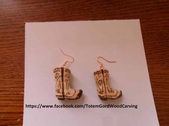 Cowboy Boot Ear Rings hand carved great gift for birthdays anniversaries weddings country dance