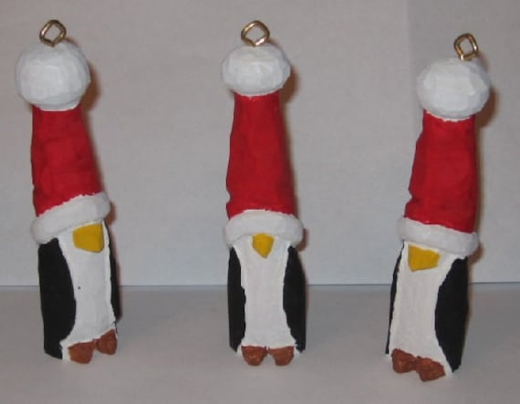 Penguin Christmas ornaments 4 inches tall hand carved and hand painted in folk art style sold per each