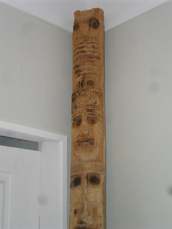 Custom style Totem Pole hand carved and wood burned combination Canadian West Coast and Central American styles rustic art decor