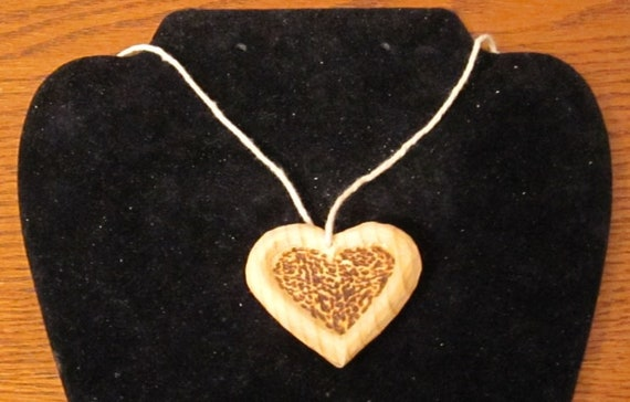Valentines Day Heart hand carved wood with FREE 18 inch lanyard decoration