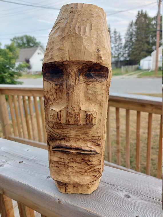 Easter Island wood head carving great gift for conversation piece birthday anniversary wedding living room decor bedroom decor