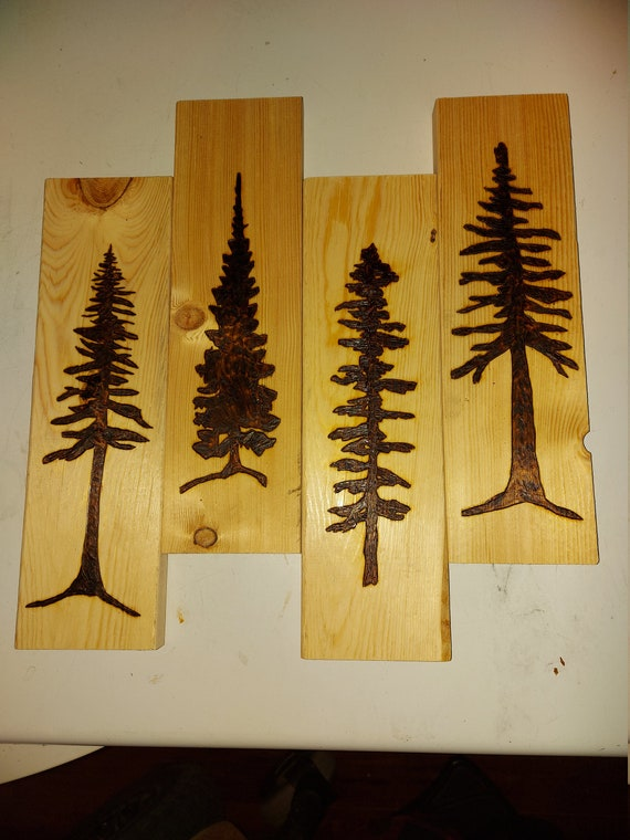 Pine tree wood burning, pyrography, forest scene, trees, woodland, nature, gift, wall art, man cave, home or cabin decor