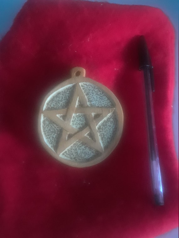 Wiccan Pentagram Medallion hand carved wood for wicca, witch, wizard with FREE 18 inch lanyard