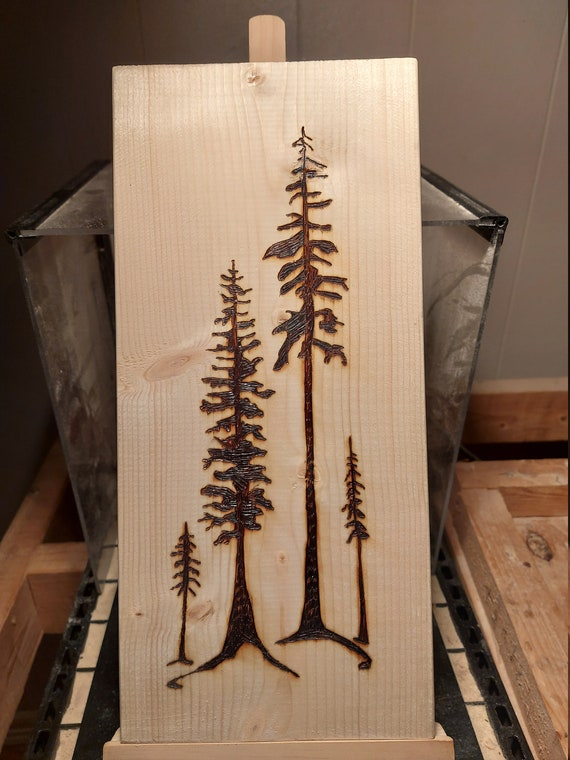 Pine tree wood burning, pyrography, forest scene, trees, woodland, nature, gift, wall art, home or cabin decor
