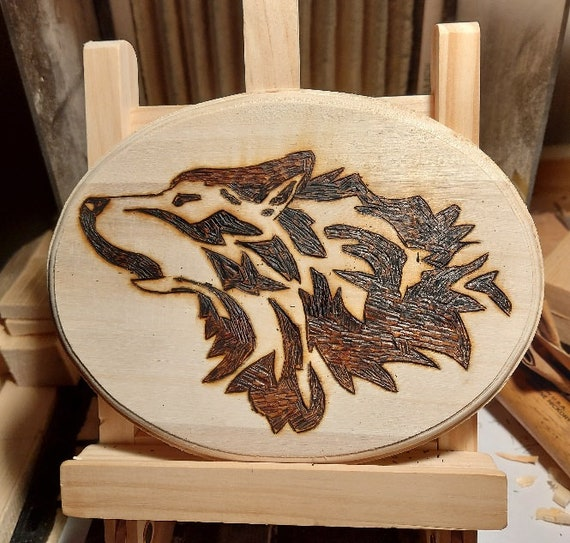 Howling Wolf Animal Spirit wood burning pyrography wall art. 11 x 14 inches. Hand crafted, for man cave, home decor, cabin, cottage.