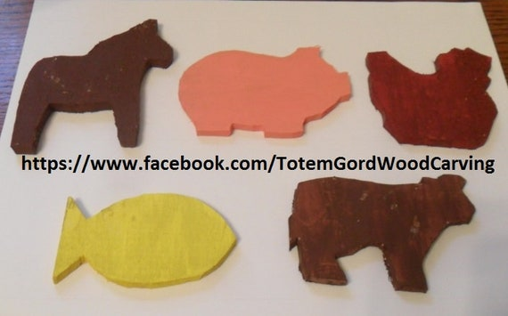 Waldorf Farm Animals set of 5 hand carved wood toys leaning tools home schooling school teachers aid kids toys whimsical hand made farm toys