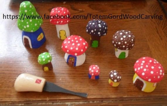Waldorf Mini Fairy Mushroom houses hand carved  wood toys leaning tools home schooling school teachers aid assorted set of 9