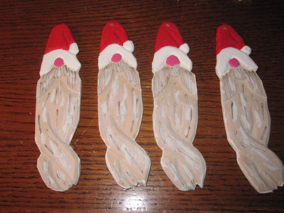 Santa With Beard Christmas Decoration hand carved and hand painted wood. Also available in sets.