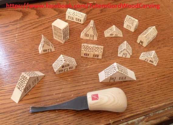 Waldorf Mini Fairy houses hand carved and wood burned design wood toys leaning tools home schooling school teachers aid assorted set of 13