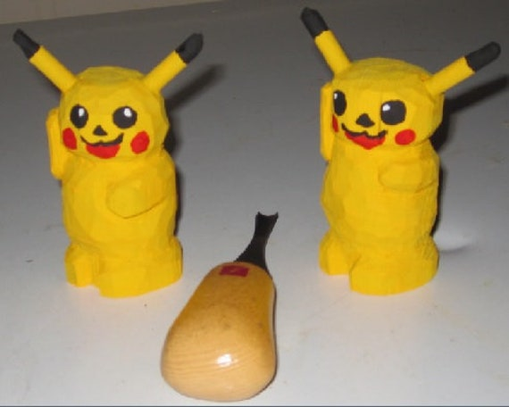 Hand carved Pikachu Pokémon character birthday gift Christmas cute gift for gamers hand made wood art unique. Sold per each.