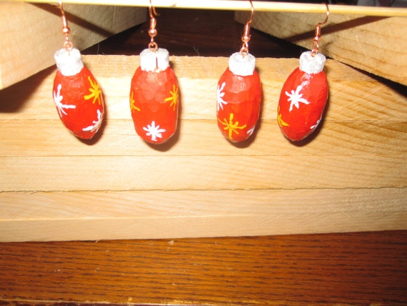 Christmas Bulb 2 inch Ear Rings hand carved and hand painted wood great to light up your parties. Sold in pairs.