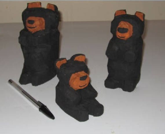 Hand carved Canadian black bear family gift for rustic decor retirement cottage wedding gift wildlife art husband father folk art