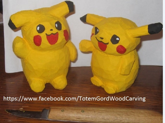 Hand carved Pikachu birthday gift Christmas cute gift for gamers hand made wood art unique. Sold per each.