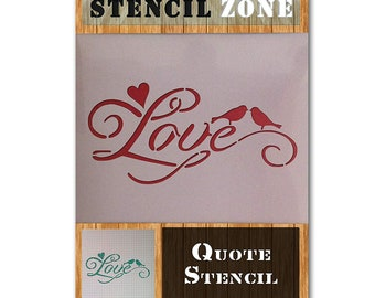 Love Quote Dove Heart Word Mylar Airbrush Painting Wall Art Crafts Stencil