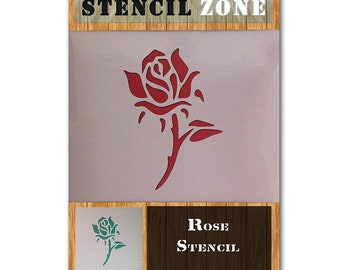 Rose Flower Plant Mylar Airbrush Painting Wall Art Wood Glass Stencil two