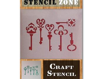 Rustic Keys Vintage Key Lock Mylar Airbrush Painting Wall Art Crafts Stencil 2