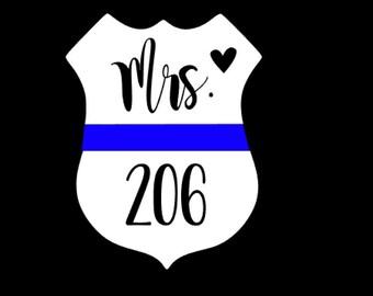 "Window Bumper  Sticker Pair of 2.5/"" Thin Blue Line Heart Police Policemen"