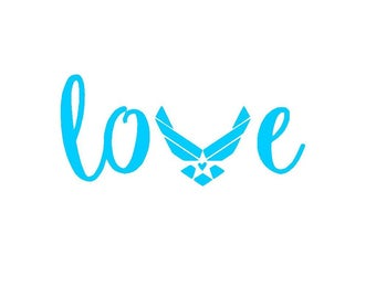 Air Force Love Vinyl Decal | US Air Force | Love | Yeti Cup Decal | Car Window Sticker | Laptop Decal | USA | Air Force Girlfriend | Wife |