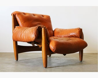 4e3155bb780d Original Sheriff Lounge Chair by Sergio Rodrigues ISA Italy 1962 Cognac  Leather Mid-century modern Brasil design vintage