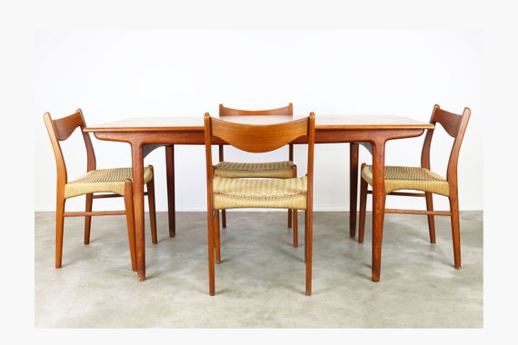 Rare Danish Dining Room Set by Ejner Larsen & Aksel Bender Madsen Teak Papercord Table Chairs Mid century modern