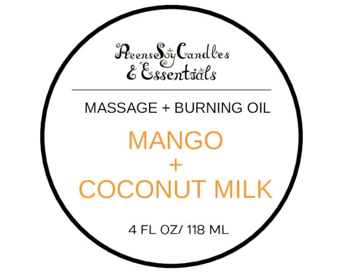 CLEARANCE/Organic Massage Oil / Burning oil / Organic Coconut oIl / Fragrance oil