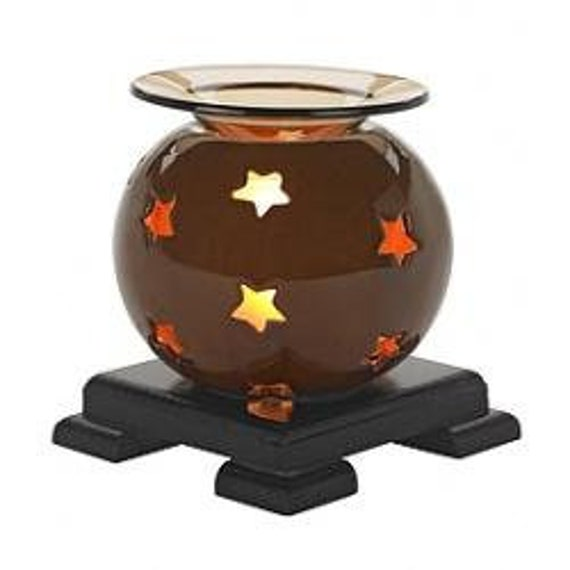 Fragrance Lamp Star Globe Brown / with a 2 or 4 oz Fragrance / Massage oil of our choice