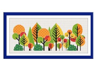 BOGO FREE. Autumn forest Cross Stitch Pattern.(#P- 1260) Autumn Trees Cross Stitch Pattern. Forest cross stitch, Modern cross stitch.