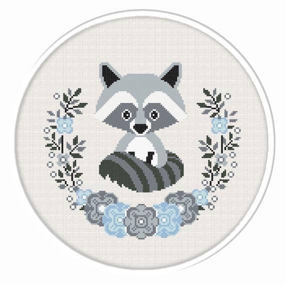 BOGO FREE  Raccoon cross stitch pattern  (#P- 1281)  Baby Raccoon Cross  Stitch, Nursery Cross Stitch, Animal cross stitch pattern