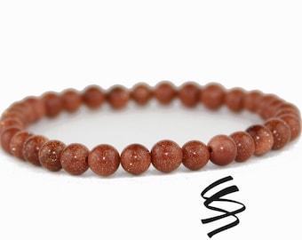 Goldstone Bracelet, Goldstone Beads, Goldstone Jewelry, Natural Goldstone, Gemstone Bracelet, Natural Stone, Healing, Yoga, Meditation, Gem