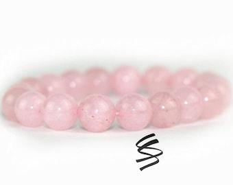 10mm Rose Quartz Bracelet, Rose Quartz Jewelry, Natural Crystal Bracelet, Healing Quartz Bracelet, Chakra Bracelet, Chakra, Rose Quartz