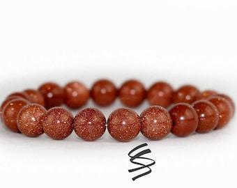 10mm Goldstone Bracelet, Goldstone Beads, Goldstone Jewelry, Natural Goldstone, Gemstone Bracelet, Natural Stone, Healing, Yoga, Meditation