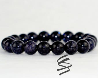 10mm, Blue Goldstone Bracelet, Goldstone Bracelet, Stacking Bracelet, Stretch Bracelet, Gemstone Bracelet, Mala Bracelet, Healing Crystal