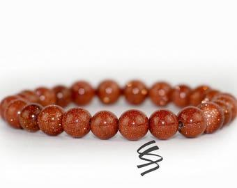 8mm Goldstone Bracelet, Goldstone Beads, Goldstone Jewelry, Natural Goldstone, Gemstone Bracelet, Natural Stone, Healing, Yoga, Meditation