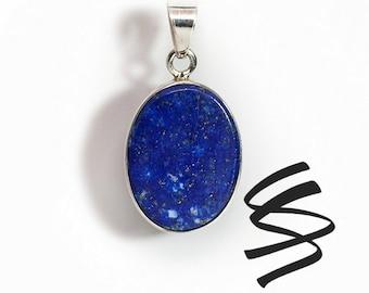 Lapis Lazuli Blue Gemstone Natural Stone Sterling Silver Necklace September Birthstone Healing Crystals Wedding Jewelry Lapis Lazuli Jewelry