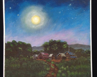 Original Hand Painted Nightime Moon Stars Acrylic Painting Cotton Canvas Out Door Scenery Landscape
