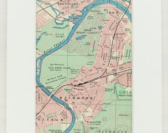Richmond Map Vintage Etsy Ca