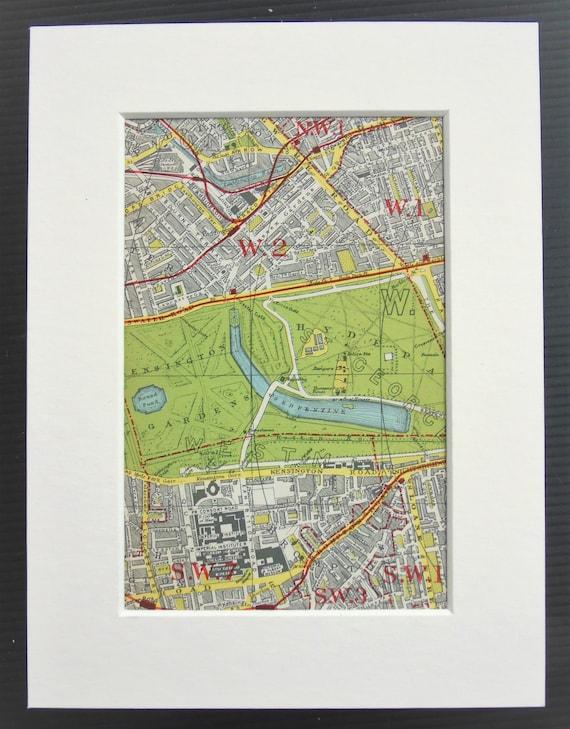 Knightsbridge London Map.Vintage 1920s London Map Kensington Knightsbridge West Etsy
