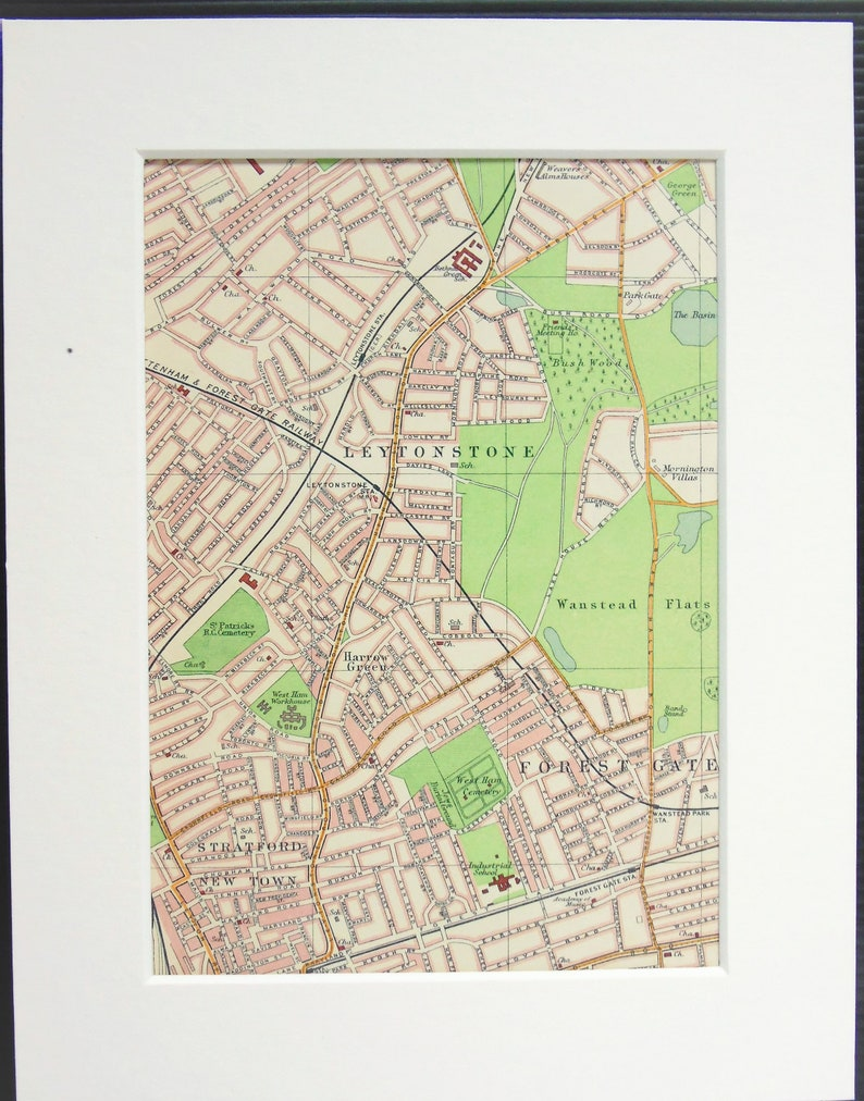Map North London.Antique 1917 London Map North London Leytonstone Stratford Forest Gate Mounted Matted For Framing Home Decor Wall Hanging Gift