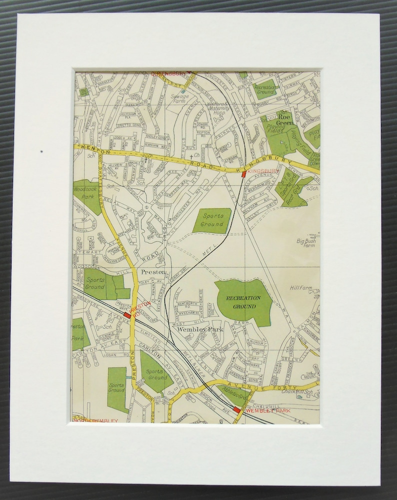 Map North West London.Vintage 1940s London Map North West London Kenton Kingsbury Green Wembley Park Mounted Matted For Framing