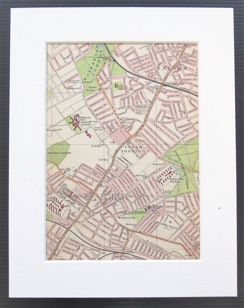 South London Map.Antique 1913 London Map South London Balham Tooting Mounted Matted For Framing Home Decor Wall Hanging Gift