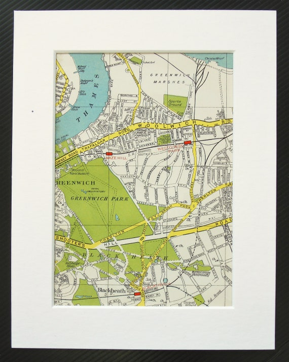 Map South East London.Vintage 1940s London Map South East London Greenwich Blackheath Mounted Matted For Framing Home Decor Wall Hanging Gift