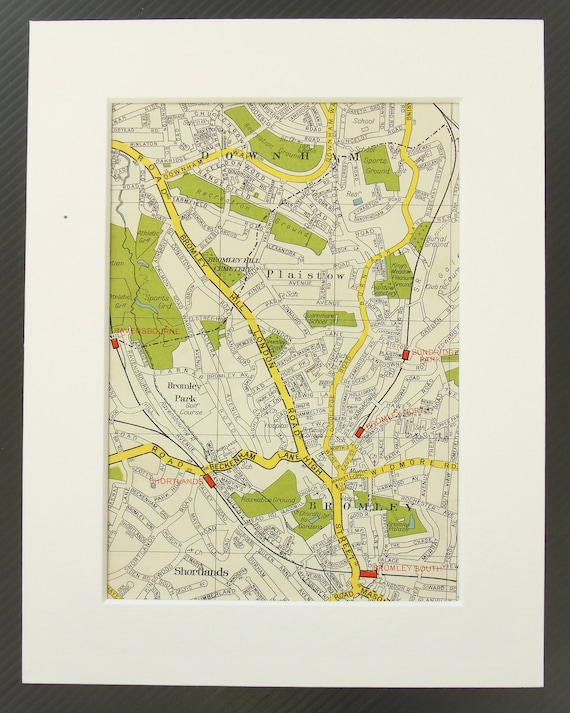 Map South East London.Vintage 1940s London Map South East London Downham Plaistow Bromley Mounted Matted For Framing Home Decor Wall Hanging Gift