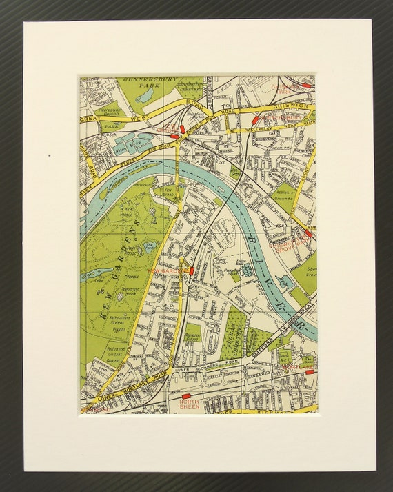 Vintage 1940s London Map West London Kew Gardens Richmond Etsy