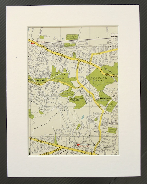 Map South East London.Vintage 1940s London Map South East London Abbey Wood Plumstead East Wickham Mounted Matted For Framing Home Decor Wall Hanging Gift