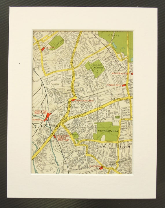 East London On Map.Vintage 1940s London Map East London West Ham Stratford Wanstead Mounted Matted For Framing