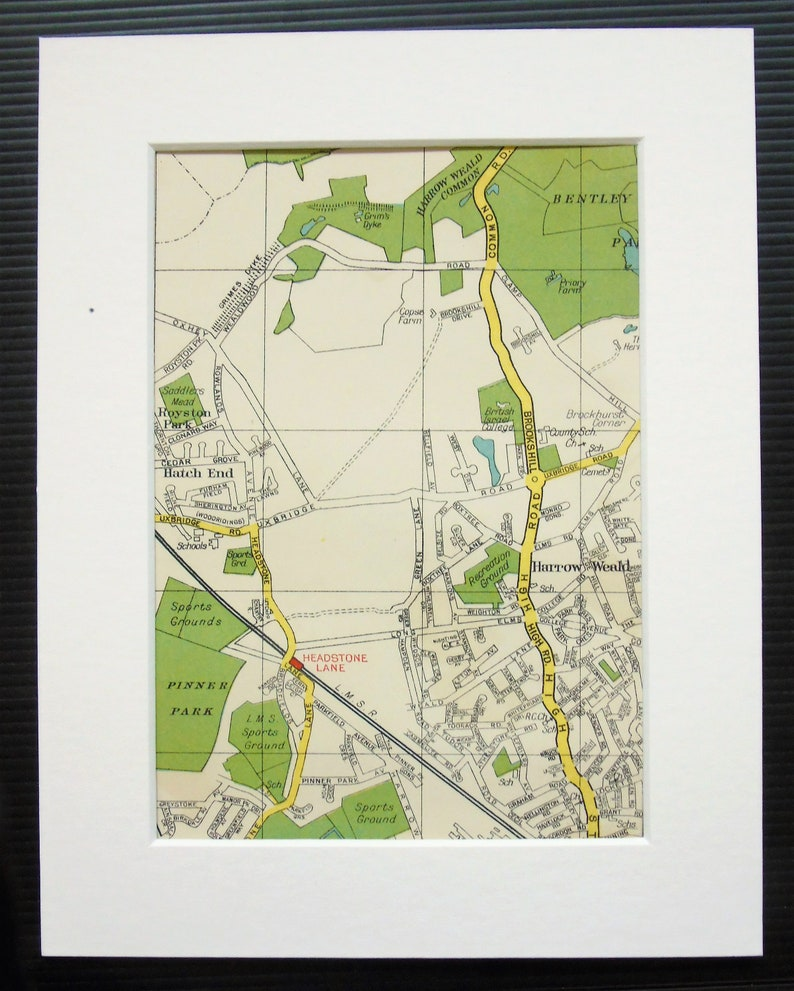 Map North West London.Vintage 1940s London Map North West London Harrow Weald Wealdstone Mounted Matted For Framing Home Decor Wall Hanging Gift