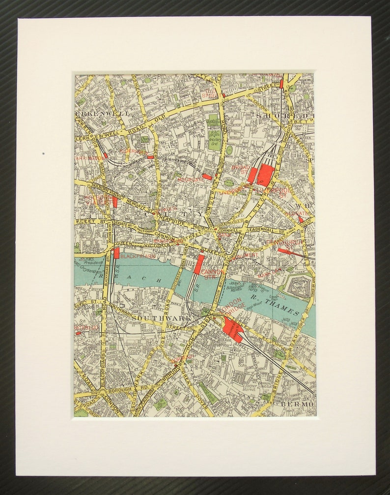 London Map Central.Vintage 1940s London Map Central London Southwark Clerkenwell Newington Mounted Matted For Framing