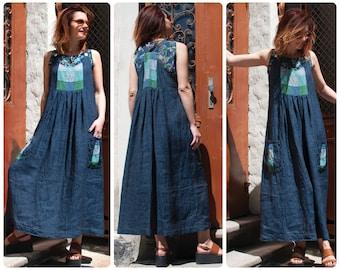 72f5281b4f1 Linen Patchwork Pinafore Dress with Big Pockets