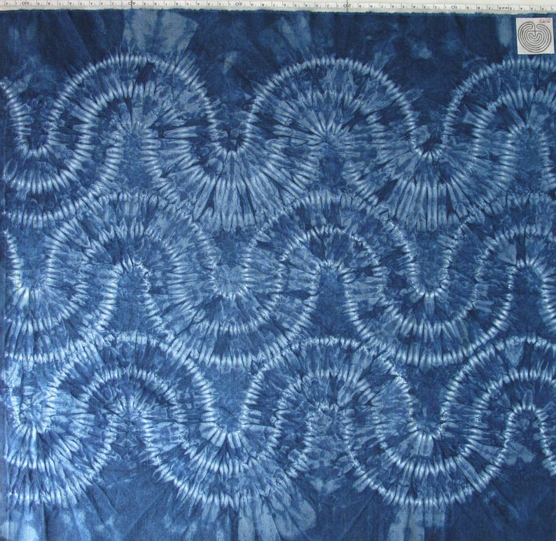 Hand-dyed indigo Hira-nui Shibori recycled cotton, tie-dyed fat-quarter for  patchwork and sewing, dark blue stitched and dyed cotton fabric