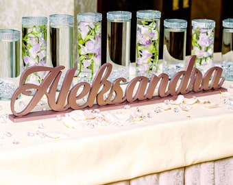 """Sweet 16 Name Sign, Custom Name Sign, Elegant Centerpiece, Height 5"""" to 12"""" tall, Freestanding Table Sign 12-18 mm"""